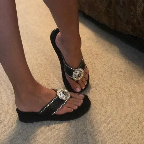 Handmade Concho Rhinestone Flip Flops